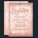 """Rose Gold Faux Glitter Lights 18th Birthday Invitation<br><div class=""""desc"""">Celebrate in style with this modern 18th birthday invitation,  featuring a sparkle lights background with a faux rose gold glitter border. Designs are flat printed illustrations/graphics - NOT ACTUAL GLITTER.</div>"""