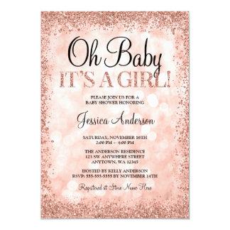 Rose Gold Faux Glitter Lights Girl Baby Shower Card