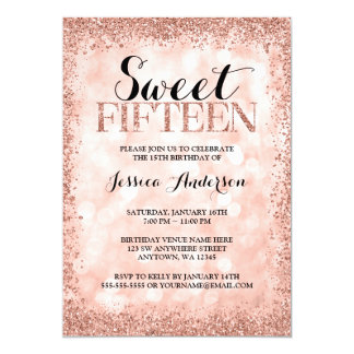 Rose Gold Faux Glitter Lights Sweet 15 Quinceanera Card