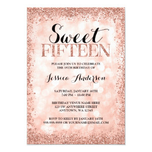 Sweet 15 invitations announcements zazzle rose gold faux glitter lights sweet 15 quinceanera invitation stopboris Gallery