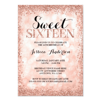 Rose Gold Faux Glitter Lights Sweet 16 Birthday Card