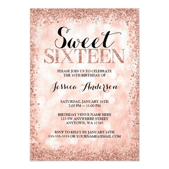 rose gold faux glitter lights sweet 16 birthday invitation zazzle com