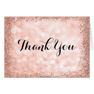 Rose Gold Faux Glitter Lights Thank You Card