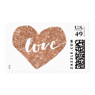 Rose Gold Faux Glitter Love Heart Postage