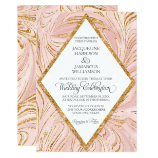 Rose Gold Faux Glitter Marble Blush Paper Wedding Card