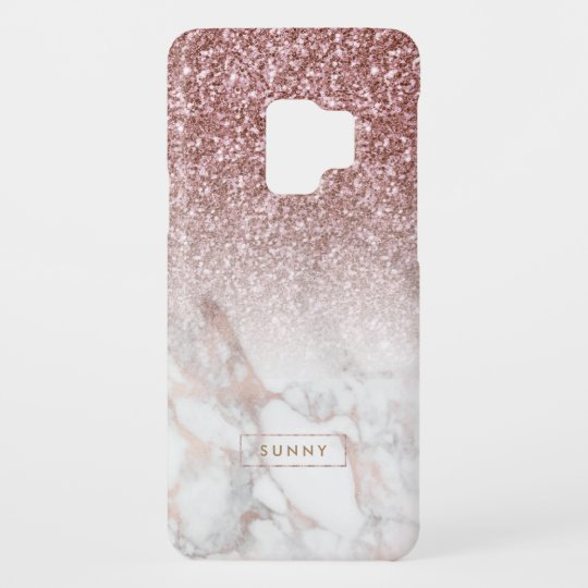 online retailer c7c39 2b1ec Rose-gold Faux Glitter & Marble Ombre Case-Mate Samsung Galaxy S9 Case