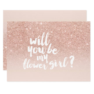 Rose gold faux glitter ombre chic flower girl card