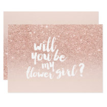 Rose gold faux glitter ombre chic flower girl invitation