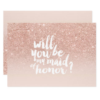 Rose gold faux glitter ombre chic maid of honor card