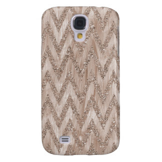 Rose Gold Faux Glitter Paint Chevron Stripes Samsung Galaxy S4 Cover