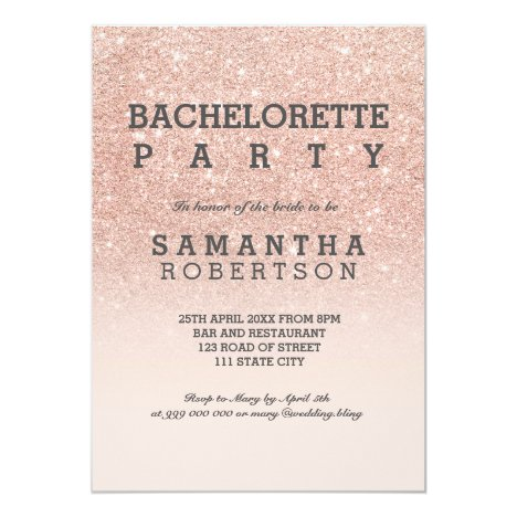 Rose gold faux glitter pink bachelorette party card