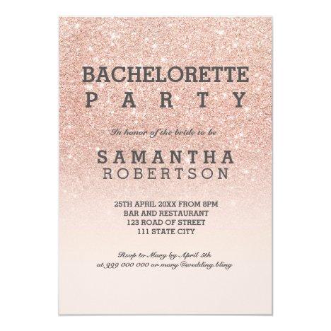 Rose gold faux glitter pink bachelorette party invitation