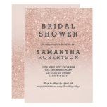 Rose Gold Faux Glitter Pink Bridal Shower Card at Zazzle