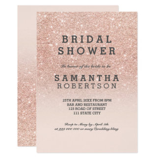 Rose gold faux glitter pink bridal shower invitation