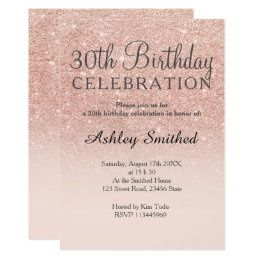 30th birthday invitations announcements zazzle rose gold faux glitter pink ombre 30th birthday card filmwisefo Images