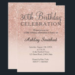 """Rose gold faux glitter pink ombre 30th birthday invitation<br><div class=""""desc"""">A modern,  original and simple faux rose gold glitter ombre 30th birthday invitation on a fully customizable blush pink color background. Thirtieth!</div>"""