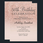 """Rose gold faux glitter pink ombre 50th birthday invitation<br><div class=""""desc"""">A modern,  original and simple faux rose gold glitter ombre 50th birthday invitation on a fully customizable blush pink color background. Fiftieth!</div>"""
