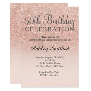 Rose Gold Faux Glitter Pink Ombre 50th Birthday Invitation