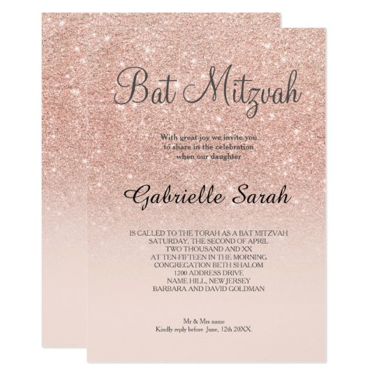 rose gold faux glitter pink ombre bat mitzvah invitation zazzle com