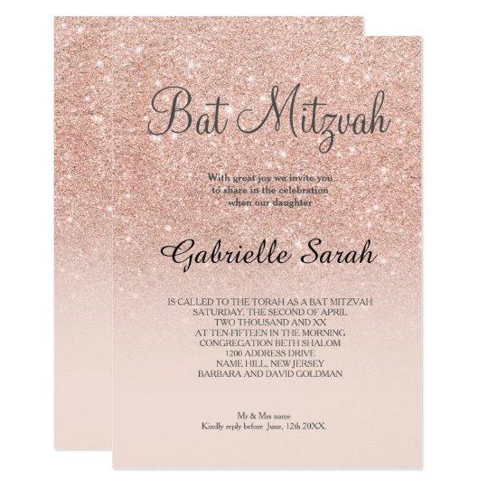 Rose Gold Faux Glitter Pink Ombre Bat Mitzvah Invitation Zazzle Com