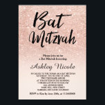 """Rose gold faux glitter pink ombre Bat Mitzvah Invitation<br><div class=""""desc"""">A modern,  original and simple faux rose gold glitter ombre Bat Mitzvah invitation on a fully customizable blush pink color background</div>"""