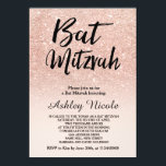 "Rose gold faux glitter pink ombre Bat Mitzvah Invitation<br><div class=""desc"">A modern,  original and simple faux rose gold glitter ombre Bat Mitzvah invitation on a fully customizable blush pink color background</div>"