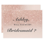 Rose Gold Faux Glitter Pink Ombre Be My Bridesmaid Card at Zazzle