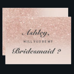 """Rose gold faux glitter pink ombre be my bridesmaid card<br><div class=""""desc"""">Will you be my bridesmaid on a A modern,  original and simple faux rose gold glitter ombre wedding invitation on a fully customizable blush pink color background. Perfect for chic,  elegant theme wedding</div>"""