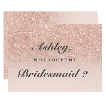 girly_trend Rose gold faux glitter pink ombre be my bridesmaid card