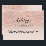 "Rose gold faux glitter pink ombre be my bridesmaid invitation<br><div class=""desc"">Will you be my bridesmaid on a A modern,  original and simple faux rose gold glitter ombre wedding invitation on a fully customizable blush pink color background. Perfect for chic,  elegant theme wedding</div>"