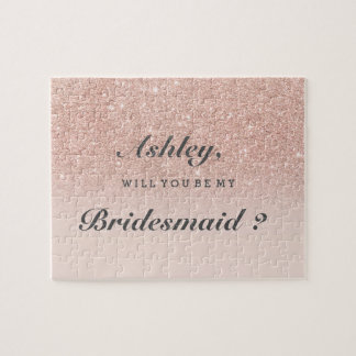 Rose gold faux glitter pink ombre be my bridesmaid jigsaw puzzle