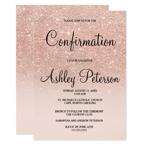 Rose gold faux glitter pink ombre confirmation invitation