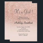"""Rose gold faux glitter pink ombre girl baby shower card<br><div class=""""desc"""">A modern,  original and simple faux rose gold glitter ombre It&#39;s a girl baby shower invitation on a fully customizable blush pink color background</div>"""