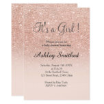 Rose gold faux glitter pink ombre girl baby shower card<br><div class='desc'>A modern,  original and simple faux rose gold glitter ombre It&#39;s a girl baby shower invitation on a fully customizable blush pink color background</div>