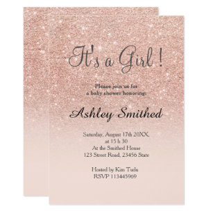 Baby shower invitations zazzle rose gold faux glitter pink ombre girl baby shower card filmwisefo