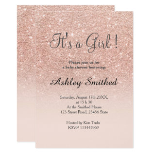 Rose Gold Faux Glitter Pink Ombre Girl Baby Shower Card at Zazzle