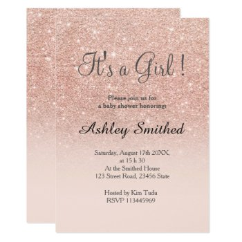 Rose Gold Faux Glitter Pink Ombre Girl Baby Shower Card by girly_trend at Zazzle