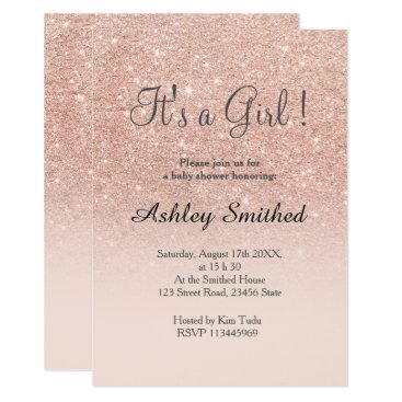 girly_trend Rose gold faux glitter pink ombre girl baby shower card