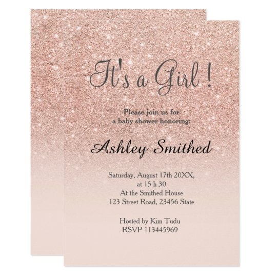 Captivating Rose Gold Faux Glitter Pink Ombre Girl Baby Shower Card