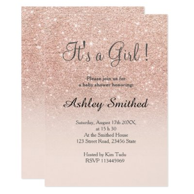 girl blush pink faux gold glitter baby shower card | zazzle, Baby shower invitations