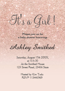 Shower girl baby invitations announcements zazzle rose gold faux glitter pink ombre girl baby shower invitation filmwisefo