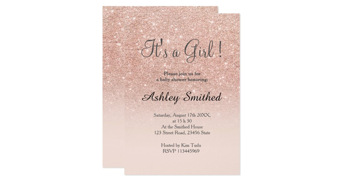 Rose gold faux glitter pink ombre girl baby shower invitation ...
