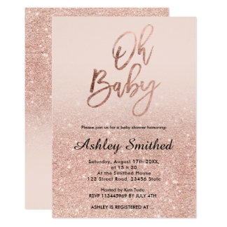 Rose gold faux glitter pink ombre Oh baby shower Card