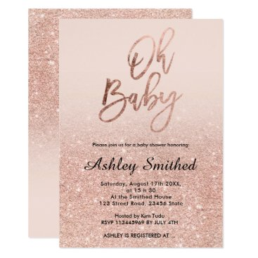 Toddler & Baby themed Rose gold faux glitter pink ombre Oh baby shower Card
