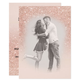 Rose gold faux glitter pink ombre photo wedding 2 card