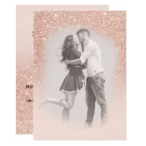 Rose gold faux glitter pink ombre photo wedding 2 invitation