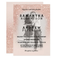Rose gold faux glitter pink ombre photo wedding card