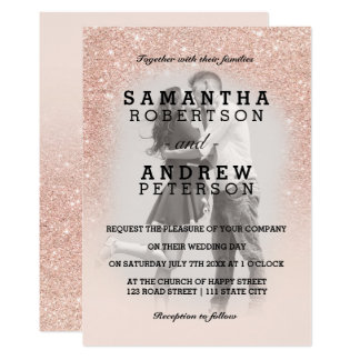 Rose gold faux glitter pink ombre photo wedding invitation