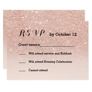 Rose gold faux glitter pink ombre RSVP black Card