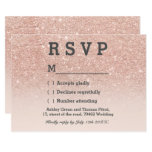 Rose Gold Faux Glitter Pink Ombre Rsvp Wedding Card at Zazzle